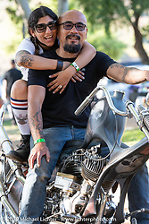 Natalie Sakamoto and her custom bike builder husband Aki Sakamoto of Hog Killers at the Born-Free Vintage Motorcycle show at Oak Canyon Ranch, Silverado, CA, USA. Sunday, June 23, 2019. Photography ©2019 Michael Lichter.