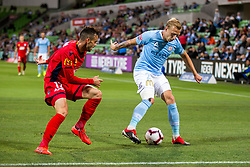 February 9, 2019 - Melbourne, VIC, U.S. - MELBOURNE, AUSTRALIA - February 09 : Ritchie de Laet of Melbourne City  and Nikola Mileusnic of Adelaide United  contest the ball during round 18 of the Hyundai A-League Series between Melbourne City and Adelaide United on February 9 2019, at AAMI Park in Melbourne, Australia. (Photo by Jason Heidrich/Icon Sportswire) (Credit Image: © Jason Heidrich/Icon SMI via ZUMA Press)