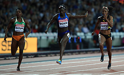 USA's Tori Bowie (centre) wins the Women's 100m Final during day three of the 2017 IAAF World Championships at the London Stadium.