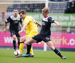 Queen of the South's Michael Paton and Falkirk's Craig Sibbald.<br /> Half time : Falkirk 0 v 0 Queen of the South, Scottish Championship game today at the Falkirk Stadium.<br /> © Michael Schofield.