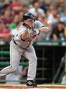 July 2, 2006; Pittsburgh, Pennsylvania, USA;  Jeremy Bonderman of the Detroit Tigers attempts to lay down a bunt against the Pittsburgh Pirates at PNC Park.  The Tigers beat the Pirates 9-8.