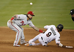 August 31, 2017 - Miami, FL, USA - The Miami Marlins' Dee Gordon (9) slides safely into second base as Philadelphia Phillies shortstop Freddy Galvis is unable to tag him out during the fifth inning at Marlins Park in Miami on Thursday, Aug. 31, 2017. The Phillies won, 3-2. (Credit Image: © David Santiago/TNS via ZUMA Wire)