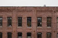 Rooftop view of redbrick buildings in DUMBO Brooklyn New York