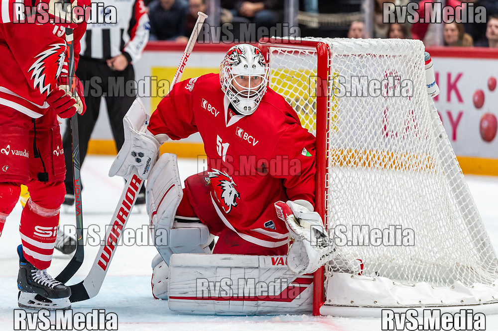 LAUSANNE, SWITZERLAND - NOVEMBER 05: #51 Goalie Tobias Stephan of Lausanne HC in action during the Swiss National League game between Lausanne HC and HC Davos at Vaudoise Arena on November 5, 2019 in Lausanne, Switzerland. (Photo by Monika Majer/RvS.Media)
