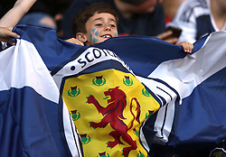 Scotland fans during the 2019 FIFA Women's World Cup qualifying, group 2 match at Falkirk Stadium.