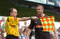 Photo: Tony Oudot.<br /> Queens Park Rangers v Stoke City. Coca Cola Championship. 06/05/2007.<br /> Dominic Matteo of Stoke City complains to the linesman after they had a goal disallowed