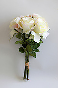 Silk Rose Bouquet on white background