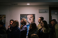 MONTECORICE, ITALY - 14 FEBRUARY 2018: Supporters of Franco Alfieri (Democratic Party, PD, Partito Democratico), a candidate running for the Chamber of Deptuies in the 2018 Italian General Elections, attend his rally in the Council Chamber of Montecorice, Italy, on February 14th 2018.<br /> <br /> Montecorice is part of the electoral college of Agropoli, in the Campania region (southern Italy) in which Franco Alfieri (Democratic Party, PD, Partito Democratico), politically active for the past 30 years, is running agains the 28-years old Alessia d'Alessandro (Five Stars Movement, M5S, Movimento 5 Stelle).<br /> <br /> The 2018 Italian general election is due to be held on 4 March 2018 after the Italian Parliament was dissolved by President Sergio Mattarella on 28 December 2017.<br /> Voters will elect the 630 members of the Chamber of Deputies and the 315 elective members of the Senate of the Republic for the 18th legislature of the Republic of Italy, since 1948.Santa<br /> <br /> The 2018 Italian general election is due to be held on 4 March 2018 after the Italian Parliament was dissolved by President Sergio Mattarella on 28 December 2017.<br /> Voters will elect the 630 members of the Chamber of Deputies and the 315 elective members of the Senate of the Republic for the 18th legislature of the Republic of Italy, since 1948.