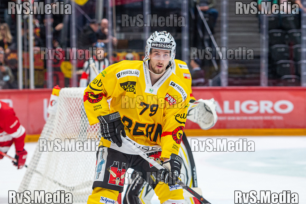 LAUSANNE, SWITZERLAND - SEPTEMBER 28: Thierry Bader #79 of SC Bern looks on during the Swiss National League game between Lausanne HC and SC Bern at Vaudoise Arena on September 28, 2021 in Lausanne, Switzerland. (Photo by Monika Majer/RvS.Media)