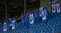 Fantribune uden fans under kampen i 3F Superligaen mellem Lyngby Boldklub og FC København den 1. juni 2020 på Lyngby Stadion (Foto: Claus Birch).