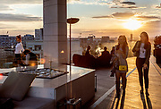 Serbia, Belgrade: Hilton Hotel. cocktail bar on the roof top terrace