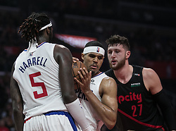 December 17, 2018 - Los Angeles, California, United States of America - Tobias Harris #34 of the Los Angeles Clippers gets the rebound during their NBA game with the Portland Trailblazers on Monday December 17, 2018 at the Staples Center in Los Angeles, California. Clippers lose to Trailblazers, 127-131. JAVIER ROJAS/PI (Credit Image: © Prensa Internacional via ZUMA Wire)