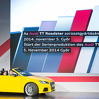 Audi TT Roadster is introduced during the official production launch event in the Audi factory in Gyor (about 120 km West of Budapest), Hungary on November 05, 2014. ATTILA VOLGYI