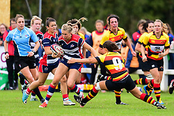 Charlotte Holland of Bristol Ladies evades the tackle of Charlotte Keane of Richmond ladies - Mandatory by-line: Craig Thomas/JMP - 17/09/2017 - Rugby - Cleve Rugby Ground  - Bristol, England - Bristol Ladies  v Richmond Ladies - Women's Premier 15s