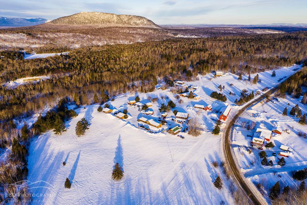 Aerial view of Shin Pond Village in Maine's Northern Forest near Mount Chase, Maine and Katahdin Woods and Waters National Monument.