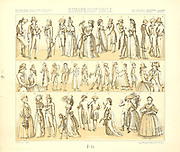 18th Century French fashion and lifestyle, from Geschichte des kostums in chronologischer entwicklung (History of the costume in chronological development) by Racinet, A. (Auguste), 1825-1893. and Rosenberg, Adolf, 1850-1906, Volume 5 printed in Berlin in 1888