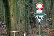 Nederland, Duitsland, Groesbeek, 28-12-2016 Het bos wordt door veel mensen gebruikt als plek voor recreatie. het Rijk van Nijmegen kent een gevarieerd landschap en is rijk aan bossen. Het grenst bij Groesbeek aan het Duitse Reichswald wat een beschermede status heeft. Landschasftsschutsgebiet, forst,forstbetrieb, deutschlandFOTO: FLIP FRANSSEN