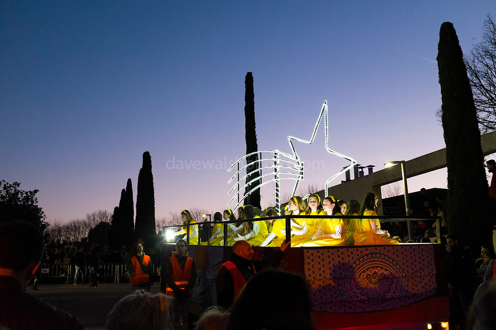 Arrival of the Kings, the three wise men, on 6th January, Sant Cugat del Valles, Barcelona, Catalonia, Spain. In Spain, rather than receiving gifts from Father Christmas, children receive them from the three wise men, on the Epiphany.