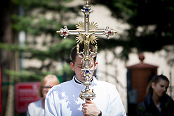 May 26, 2016 - Bydgoszcz, Poland - BYDGOSZCZ, 26 May 2016 - On the occasion of Boze Cialo or Corpus Christi on Thursday members of the Saint Martin and Michael parish held a march through the city center. (Credit Image: © Jaap Arriens/NurPhoto via ZUMA Press)