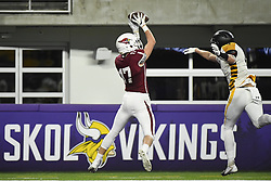 November 17, 2018 - Mpls, MINNESOTA, USA - Fairmont wide receiver Dustin Schultz (17) completed a pass for a touchdown in the second quarter against Perham.  ]   Aaron Lavinsky Â¥ aaron.lavinsky@startribune.com ....Perham played Fairmont in a Class 3A state tournament semifinal game on Saturday, Nov. 17, 2018 at US Bank Stadium in Minneapolis, Minn. (Credit Image: © Aaron Lavinsky/Minneapolis Star Tribune via ZUMA Wire)