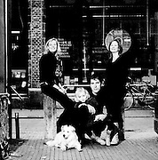 Black and White portrait of siblings in front of a bookstore in Groningen, Netherlands.<br /> ©SanderdeWilde2009. All rights reserved. Never use these pictures without permission of the photographer.