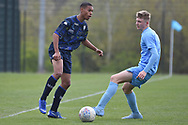 Leeds United defender Mason Rubie plays a pass during the U18 Professional Development League match between Coventry City and Leeds United at Alan Higgins Centre, Coventry, United Kingdom on 13 April 2019.