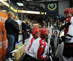 13.08.2013, Loefbergs Lila, Karlstad, SWE, European Trophy, Faerjestad BK vs Helsinki IFK, im Bild Helsinki bås // during the European Trophy Icehockey match betweeen Faerjestad BK and Helsinki IFK at the Loefbergs Lila in Karlstad, Sweden on 2013/08/13. EXPA Pictures © 2013, PhotoCredit: EXPA/ PicAgency Skycam/ Simone Syversson<br /> <br /> ***** ATTENTION - OUT OF SWE *****