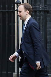 Downing Street, London, April 12th 2016. Paymaster General Matt Hancock leaves the weekly cabinet meeting. <br /> ©Paul Davey<br /> FOR LICENCING CONTACT: Paul Davey +44 (0) 7966 016 296 paul@pauldaveycreative.co.uk