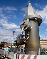 ,World's Largest Fire Hydrant Busted Plug Plaza, Taylor Street Columbia  South Carolina the creation by South Carolina artist Blue Sky, is a 40-foot tall, 675,000-pound sculpture that was unveiled in 2001.Photo by Catherine Brown