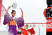 Young people take the lead onstage in color and style during Sunday's 63rd annual Obon Festival at the Buddhist Temple of Salinas.