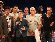 BOXEN: Middleweight, Felix Sturm - Predrag Radosevic, Dortmund, 06.07.2013<br /> Trainer Fritz Sdunek and Lukas Podolski<br /> ©Torsten Helmke