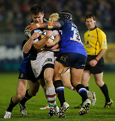 Harlequins Winger (#11) Sam Smith is tackled by Bath Prop (#3) Anthony Perenise during the second half of the match - Photo mandatory by-line: Rogan Thomson/JMP - Tel: Mobile: 07966 386802 23/11/2012 - SPORT - RUGBY - The Recreation Ground - Bath. Bath v Harlequins - Aviva Premiership.