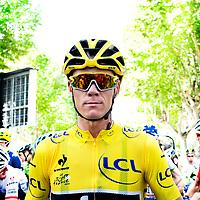 Frankrijk, Saint-Jean-de-Maurienne, 23-07-2015.<br /> Wielrennen, Tour de France.<br /> Etappe van Gap naar Saint-Jean-de-Maurienne.<br /> De onoverwinnelijke Chris Froome voor de sart.<br /> Foto: Klaas Jan van der Weij