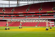 Heat lamps used to help the grass grow on the pitch of Arsenal's Emirates stadium, Islington, London, UK. 8th February 2018. (photo by Andrew Aitchison / In pictures via Getty Images)