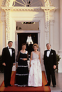 President and Nancy Reagan with Chancellor and Loki Schmidt at the White House October 1981...Photograph by Dennis Brack bb23