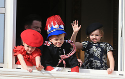 Prince Jacques and Princess Gabriella The royal family of Monaco posing at the balcony of the Grimaldi castle for the National Day festivities on November 19th 2019.