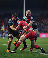 Rugby Union - 2019 / 2020 Gallagher Premiership - Harlequins vs. Saracens<br /> <br /> Saracens' Matt Gallagher is tackled by Harlequins' Aaron Morris and Cadan Murley, at The Stoop.<br /> <br /> COLORSPORT/ASHLEY WESTERN
