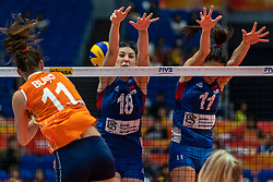 19-10-2018 JPN: Semi Final World Championship Volleyball Women day 20, Yokohama<br /> Serbia - Netherlands / Anne Buijs #11 of Netherlands, Tijana Boskovic #18 of Serbia, Stefana Veljkovic #11 of Serbia
