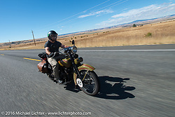 Mike Inglis riding his 1927 Harley-Davidson JD during Stage 14 - (284 miles) of the Motorcycle Cannonball Cross-Country Endurance Run, which on this day ran from Meridian to Lewiston, Idaho, USA. Friday, September 19, 2014.  Photography ©2014 Michael Lichter.