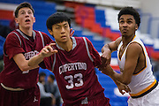 Mission Bears guard Jamion Wright (2) battles for a rebound during the Fukushima Invitational at Independence High School in San Jose, Calif., on December 7, 2016. (Stan Olszewski/Special to S.F. Examiner)