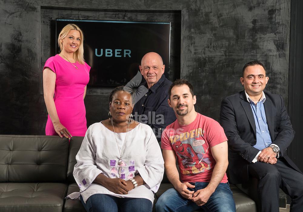 Uber drivers, left to right:<br /> Ilana Hundadze, Gladys Mapanda, Steven Rowe, Viktor Nyics and Farrukh Alladin at Uber HQ, Aldgate, London. <br /> Picture by Daniel Hambury/Stella Pictures Ltd +44 7813 022858<br /> 06/06/2016