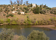 Convento de Sao Francisco, convent of Saint Francis, river Rio Guadiana, Mertola, Baixo Alentejo, Portugal, Southern Europe