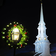 Steeple in downtown Portsmouth NH at Christmas time