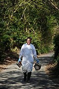 BBC TV presenter Bill Turnbull. A bee keeper at his home in Buckinghamshire, England.