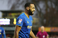 AFC Wimbledon midfielder Liam Trotter (14) smiling after scoring during the EFL Sky Bet League 1 match between AFC Wimbledon and Blackpool at the Cherry Red Records Stadium, Kingston, England on 20 January 2018. Photo by Matthew Redman.