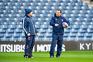 SU Agen head coach, Christophe Laussucq speaks with Edinburgh Rugby head coach, Richard Cockerill before the European Rugby Challenge Cup match between Edinburgh Rugby and SU Agen at BT Murrayfield, Edinburgh, Scotland on 18 January 2020.