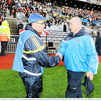 10 July 2010; Clare manager Ger O'Loughlin, left, and Dublin manager Anthony Daly after the match. GAA Hurling All-Ireland Senior Championship, Phase 2, Dublin v Clare, Croke Park, Dublin. Picture credit: Stephen McCarthy / SPORTSFILE
