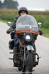 Kersten Heling on her 1922 Harley-Davidson model J (not quite as fast as her top fuel dragster she has been racing for more than 20 years!) on the Motorcycle Cannonball coast to coast vintage run. Stage 5 (229 miles) from Bowling Green, OH to Bourbonnais, IL. Wednesday September 12, 2018. Photography ©2018 Michael Lichter.