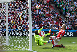PARIS, FRANCE - Saturday, June 25, 2016: Wales' Aaron Ramsey beats Northern Ireland goalkeeper Michael McGovern but the goal is ruled out for offside during the Round of 16 UEFA Euro 2016 Championship match at the Parc des Princes. (Pic by Paul Greenwood/Propaganda)