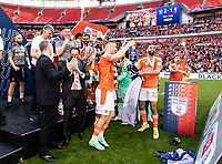Blackpool owner Simon Sadler celebrates with the players<br /> <br /> Photographer Andrew Kearns/CameraSport<br /> <br /> The EFL Sky Bet League One Play-Off Final - Blackpool v Lincoln City - Sunday 30th May 2021 - Wembley Stadium - London<br /> <br /> World Copyright © 2021 CameraSport. All rights reserved. 43 Linden Ave. Countesthorpe. Leicester. England. LE8 5PG - Tel: +44 (0) 116 277 4147 - admin@camerasport.com - www.camerasport.com